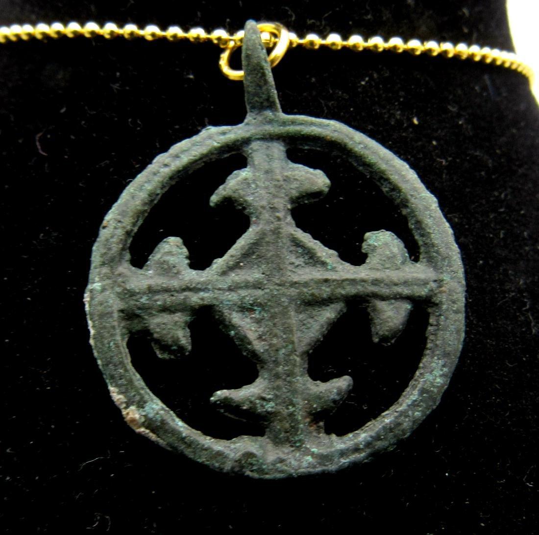 Medieval Crusaders Bronze Open-Work Cross Pendant
