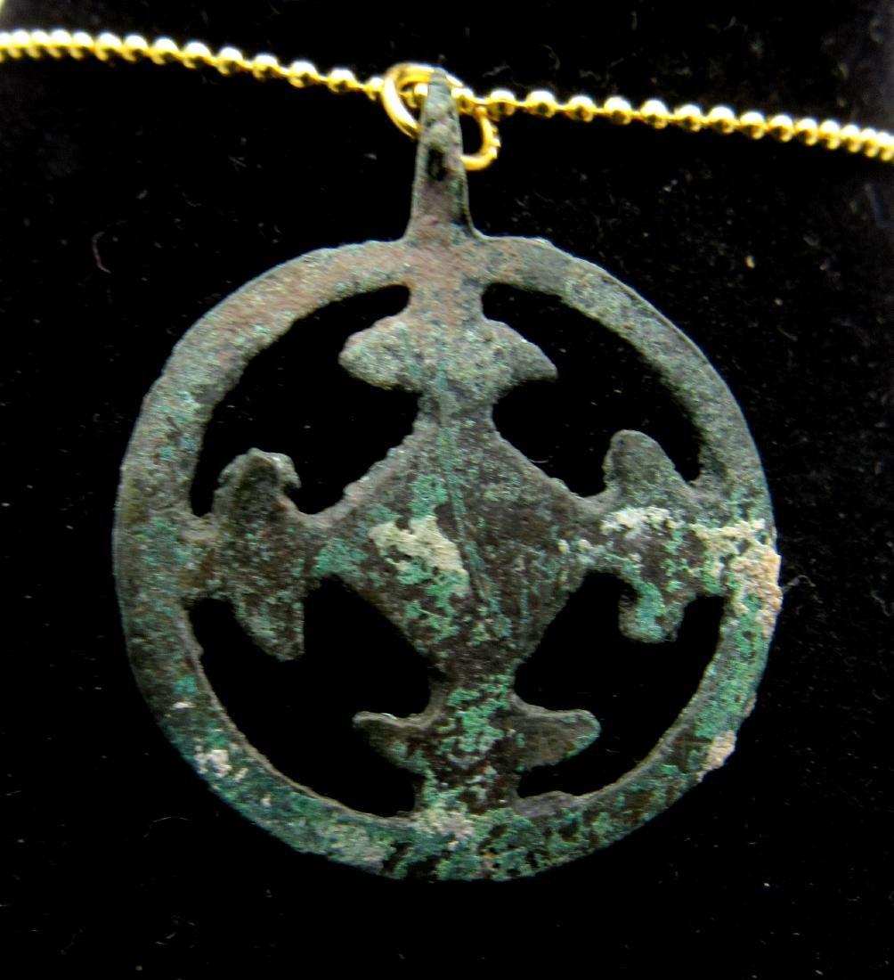 Medieval Crusaders Bronze Open-Work Cross Pendant - 2