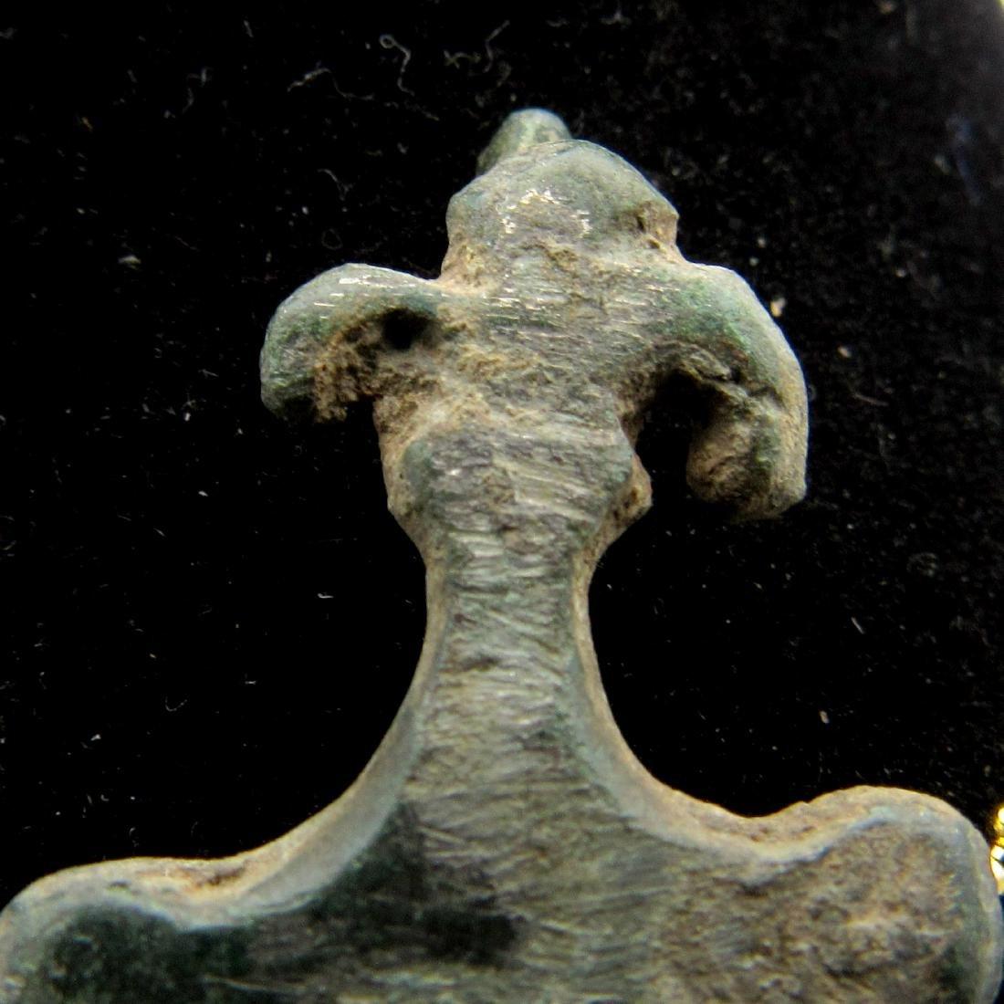 Medieval French Bronze Fluer Du Lys Pendant - 3