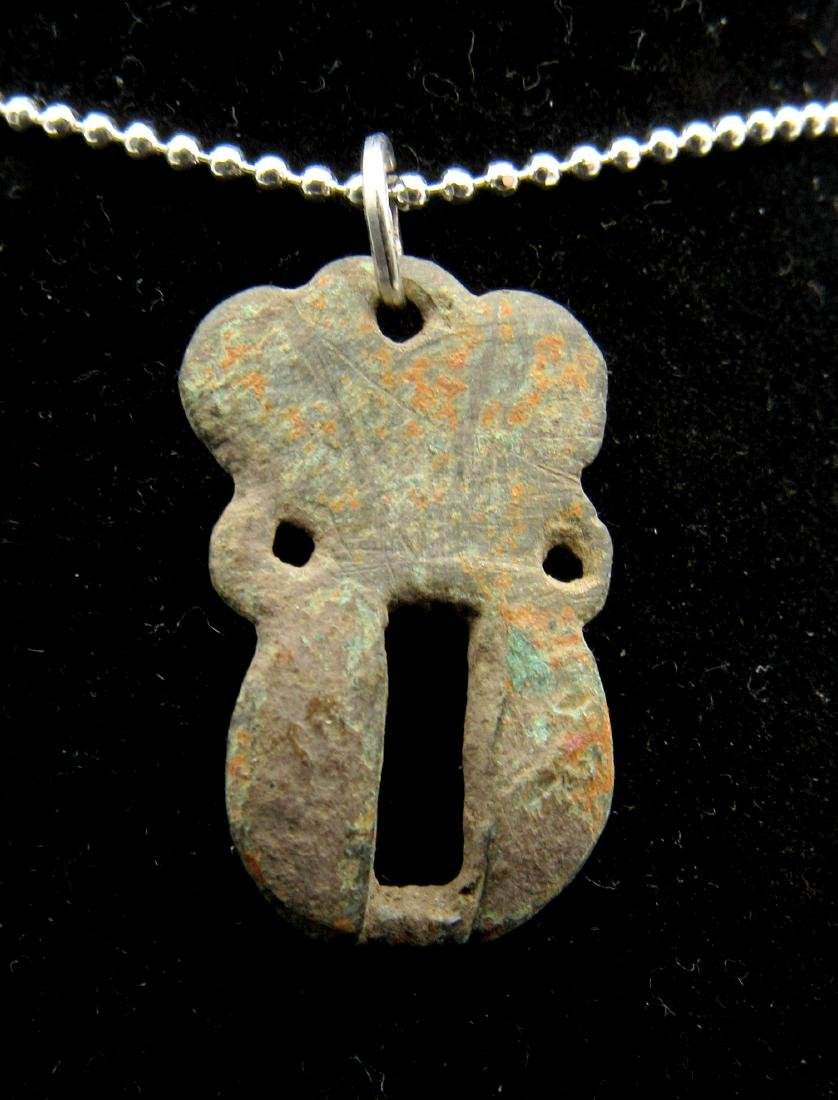 Medieval Bronze Open-Work Pendant - 2