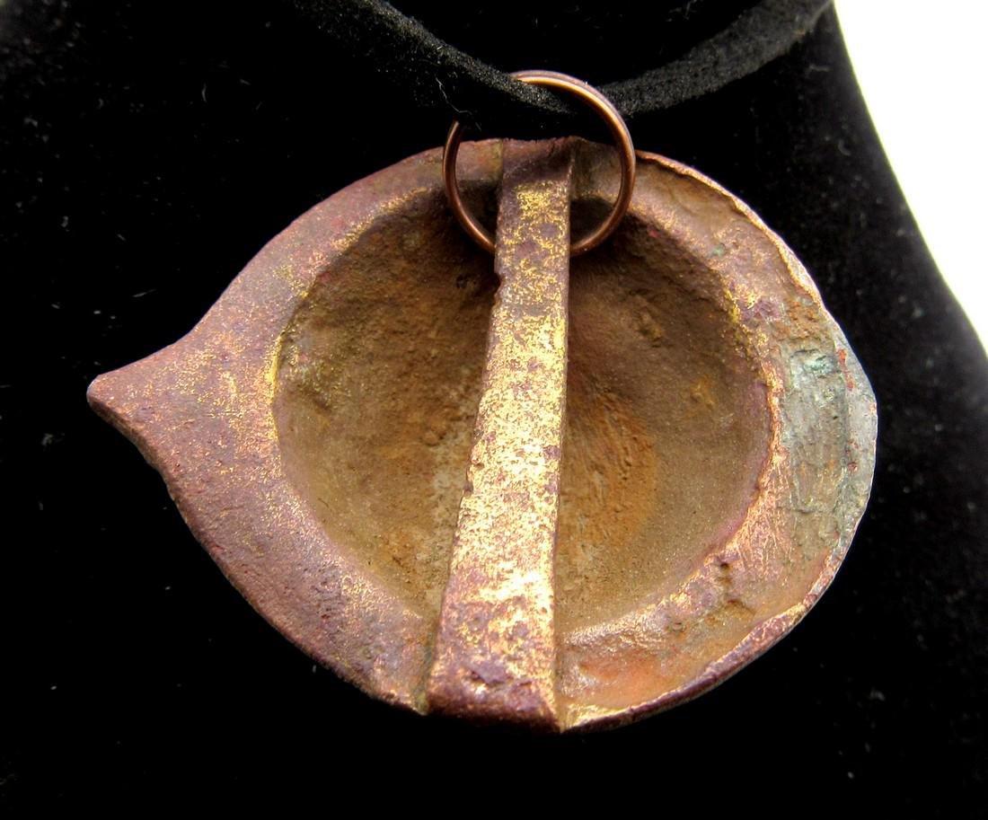 Ancient Roman Bronze Shield Shaped Pendant - 2