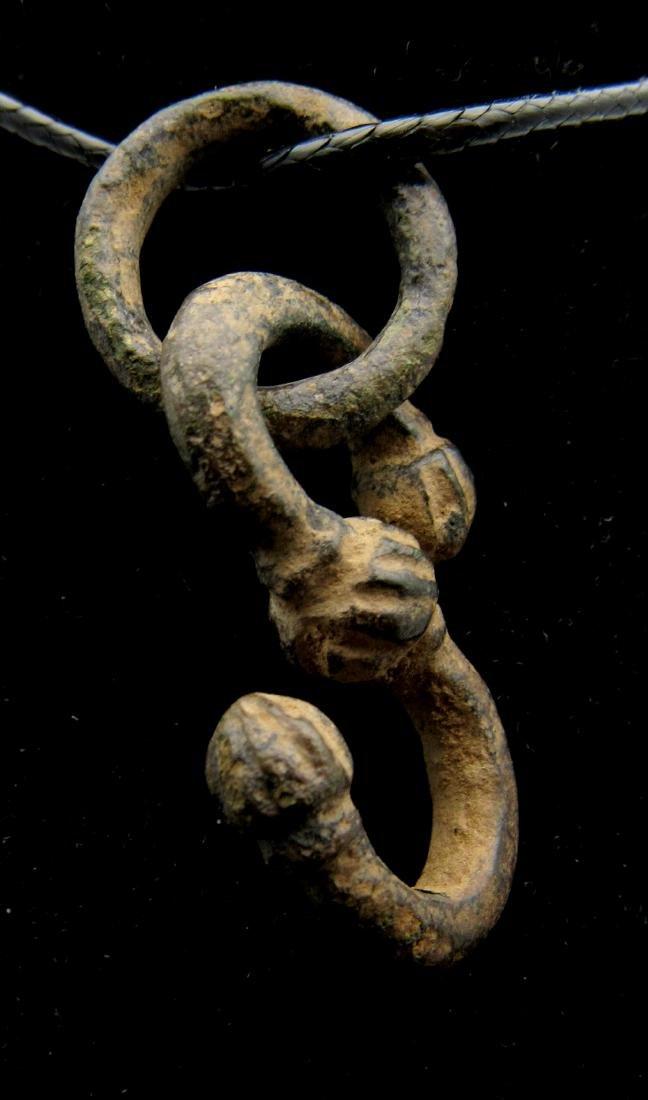 Medieval Viking Bronze Dragon Fafnir Pendant with Ring - 2