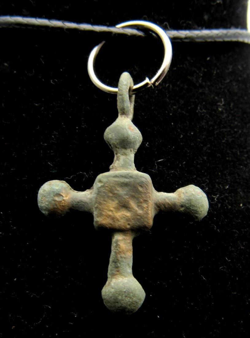 Medieval Viking Bronze Decorated Cross Pendant - 2