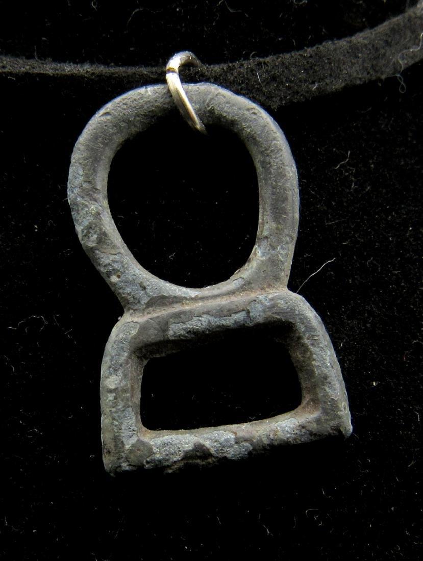 Ancient Roman Bronze Open-Work Temple Pendant