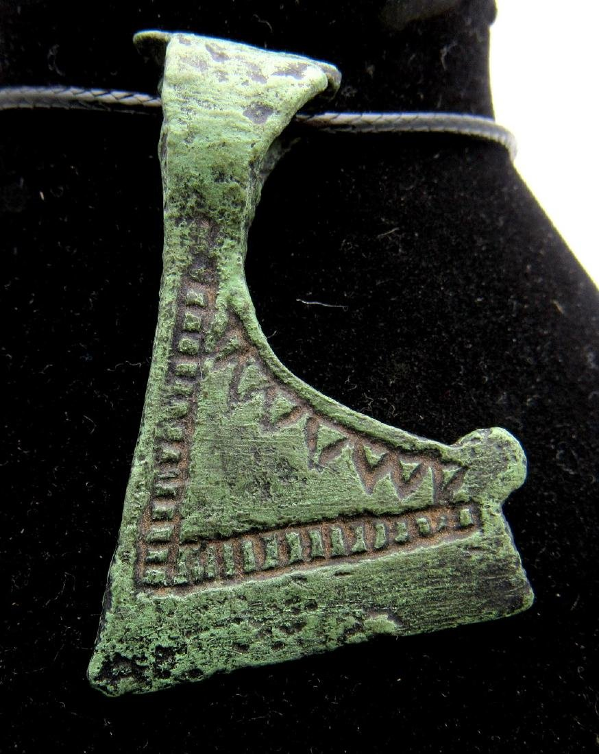 Medieval Viking Bronze Decorated Axe Pendant