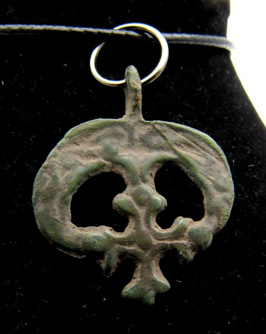 Medieval Viking Bronze Lunar Pendant with Cross
