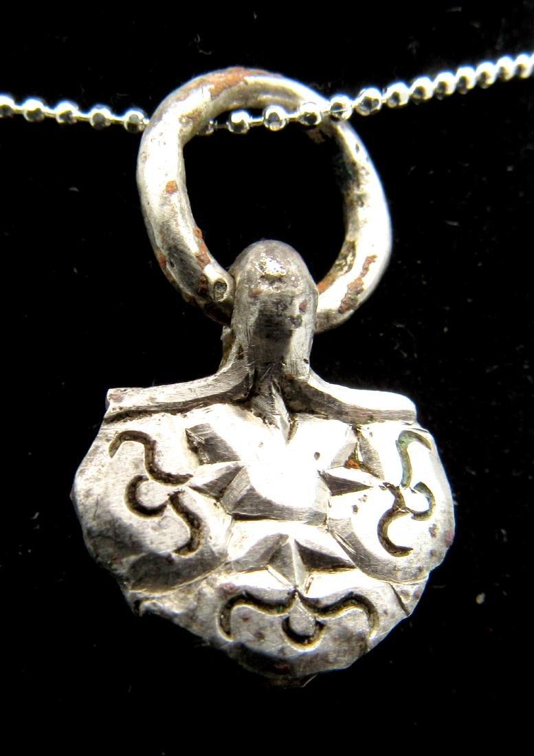 Medieval Viking Silver Floral Pendant