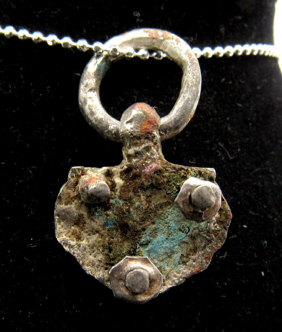 Medieval Viking Silver Floral Pendant - 2