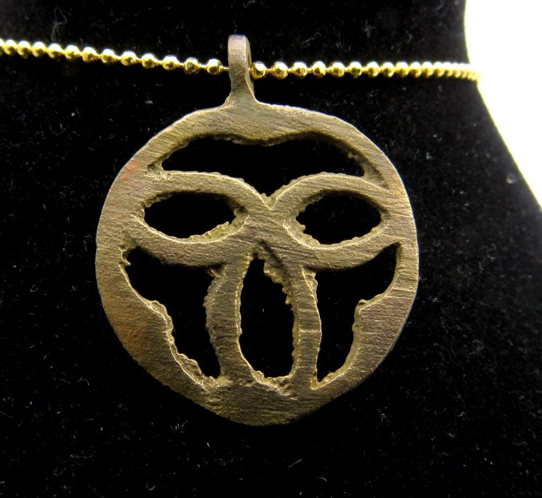 Medieval Viking Bronze Open Trinity Triangle Pendant