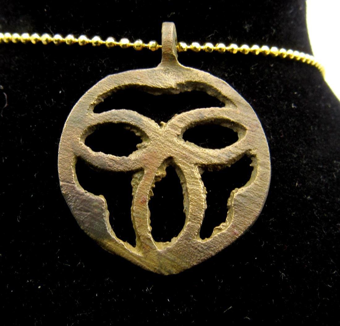 Medieval Viking Bronze Open Trinity Triangle Pendant - 2