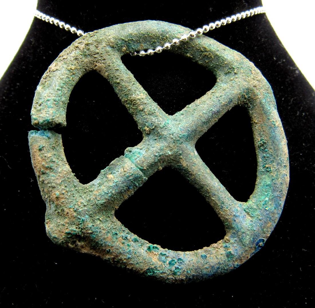 Ancient Roman Bronze Wheel of Fortune Pendant - 2
