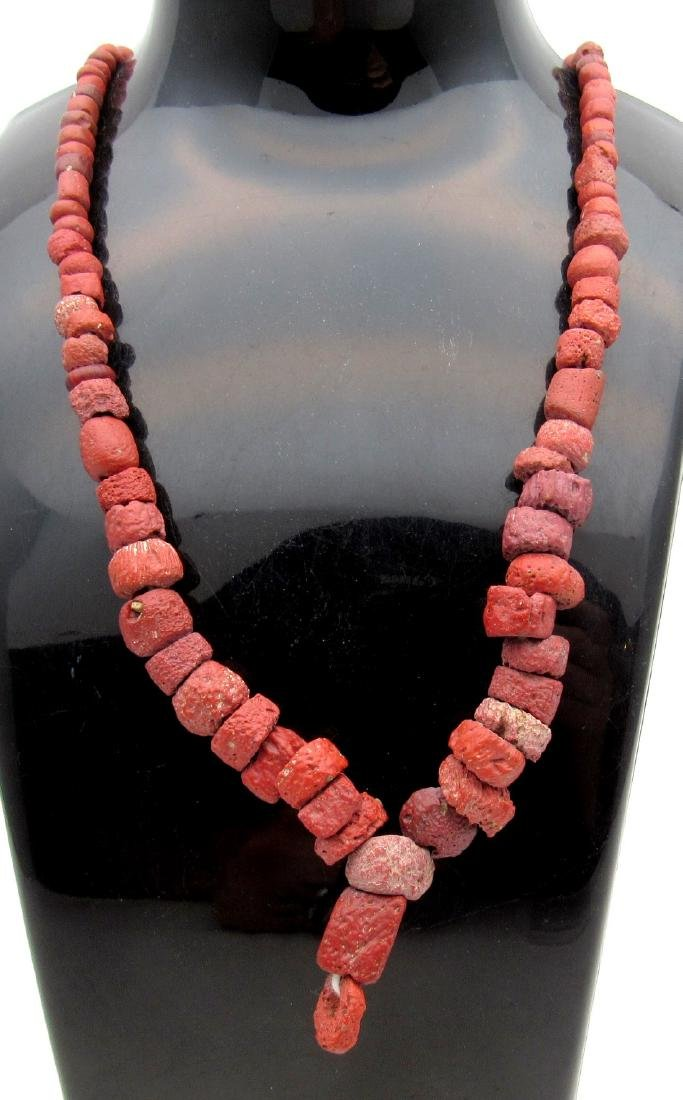 Ancient Roman Stone Necklace with 100+ Coral Beads