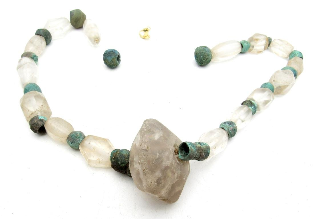 Medieval Viking Glass & Bronze Necklace with 33 Beads