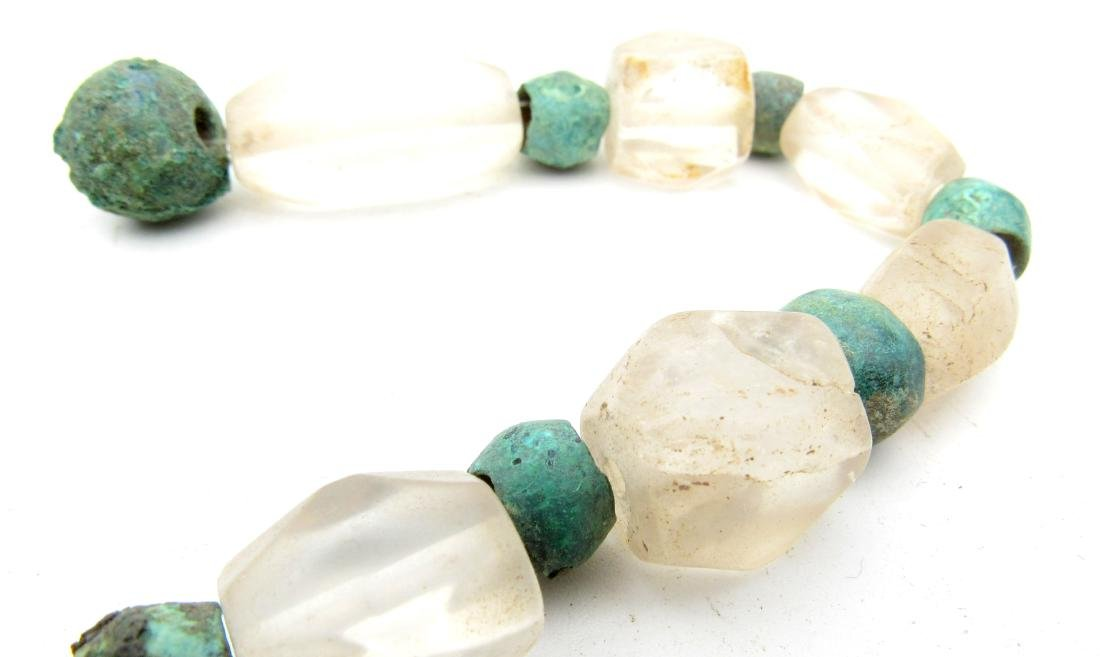 Medieval Viking Glass & Bronze Necklace with 33 Beads - 3