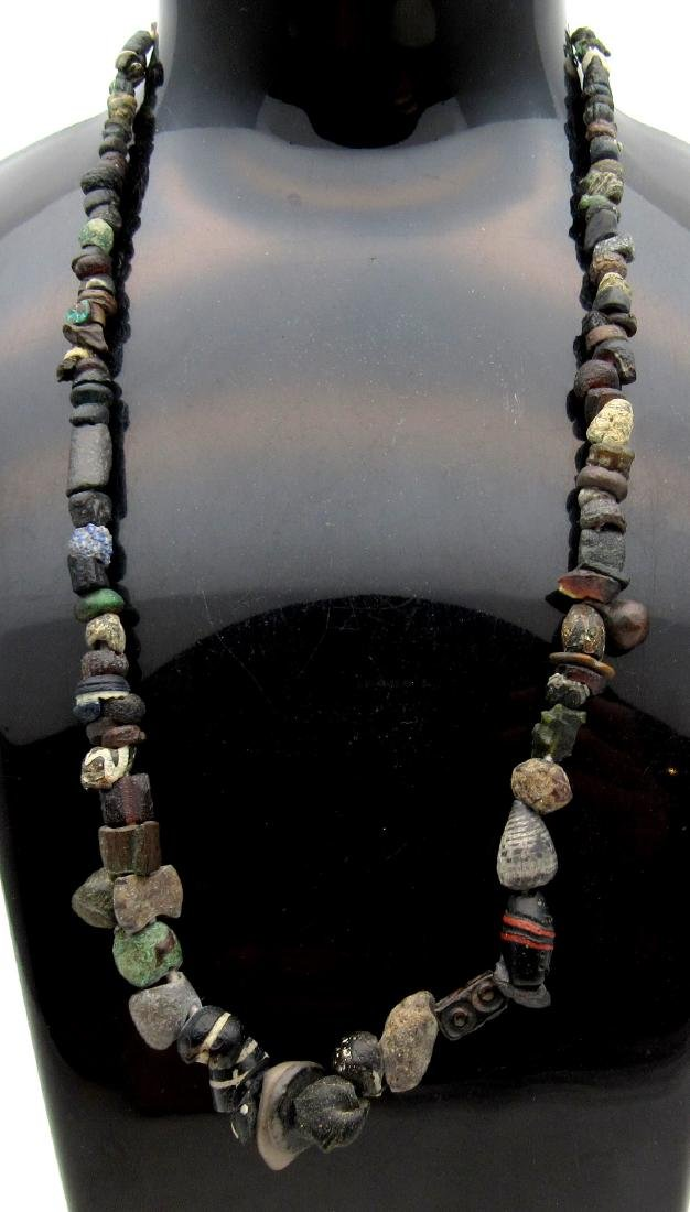 Ancient Stone, Shell, Bronze & Glass Necklace 100 Beads