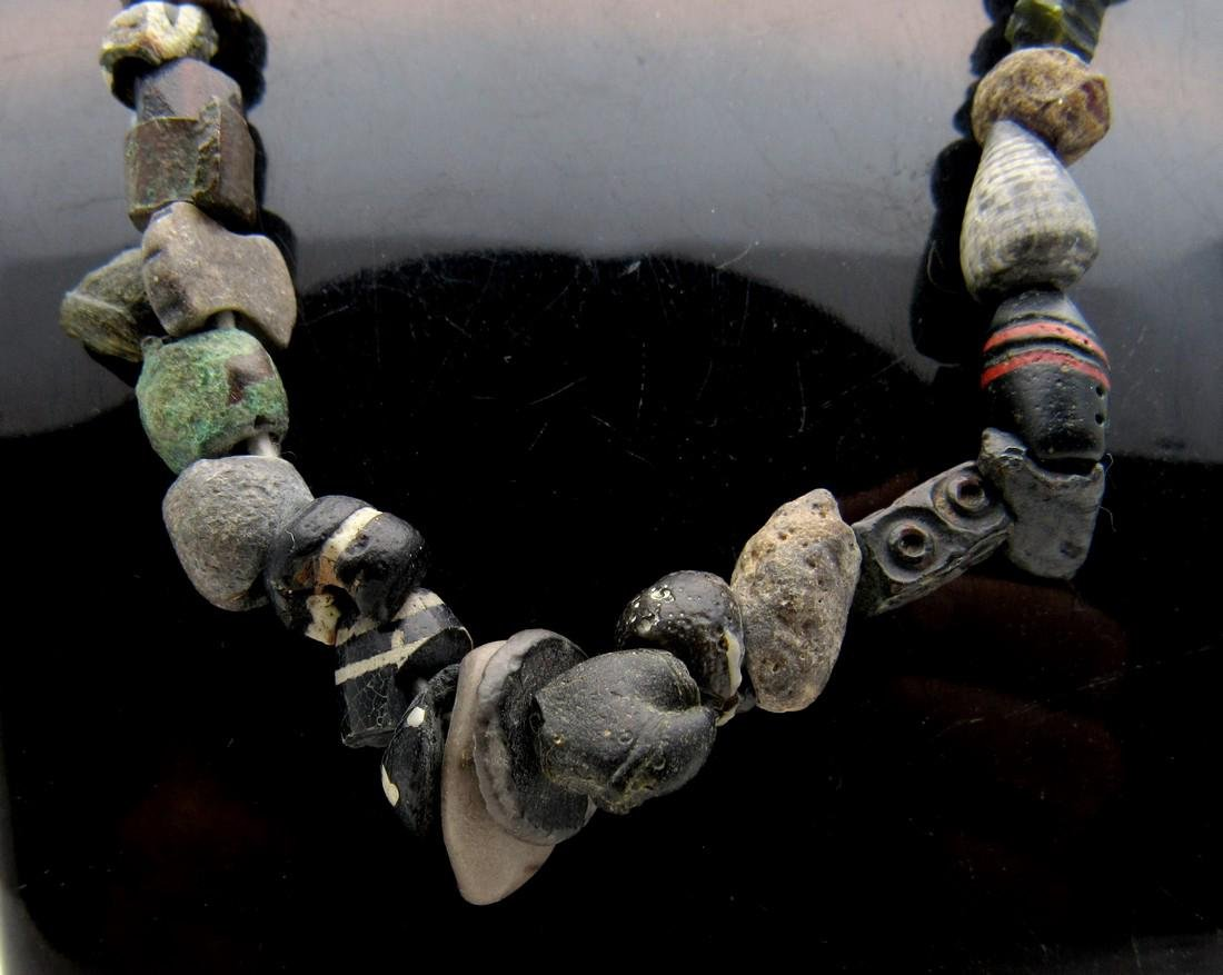 Ancient Stone, Shell, Bronze & Glass Necklace 100 Beads - 2
