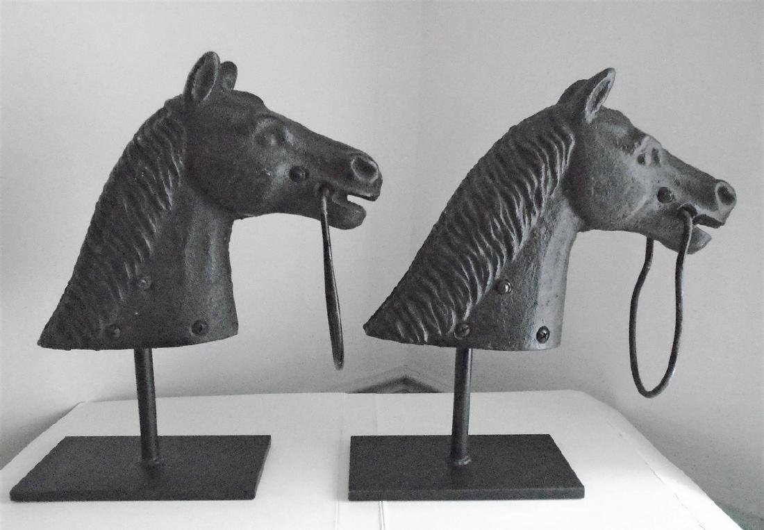 An Unusual Pair of Cast Iron Horse Hitching Posts