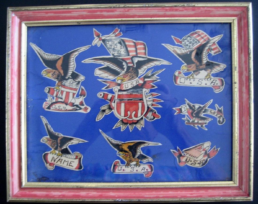 Eagle Tattoo Original Flash Framed 19th Century