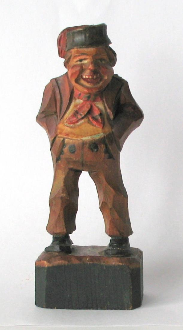 Whimsical Vintage Folk Art Carving of an Old Gentleman