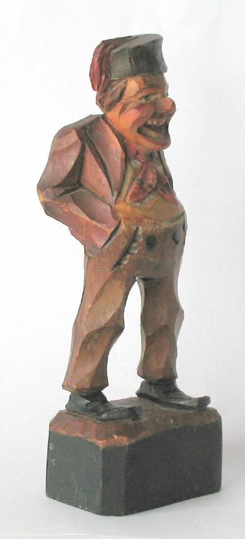 Whimsical Vintage Folk Art Carving of an Old Gentleman - 3