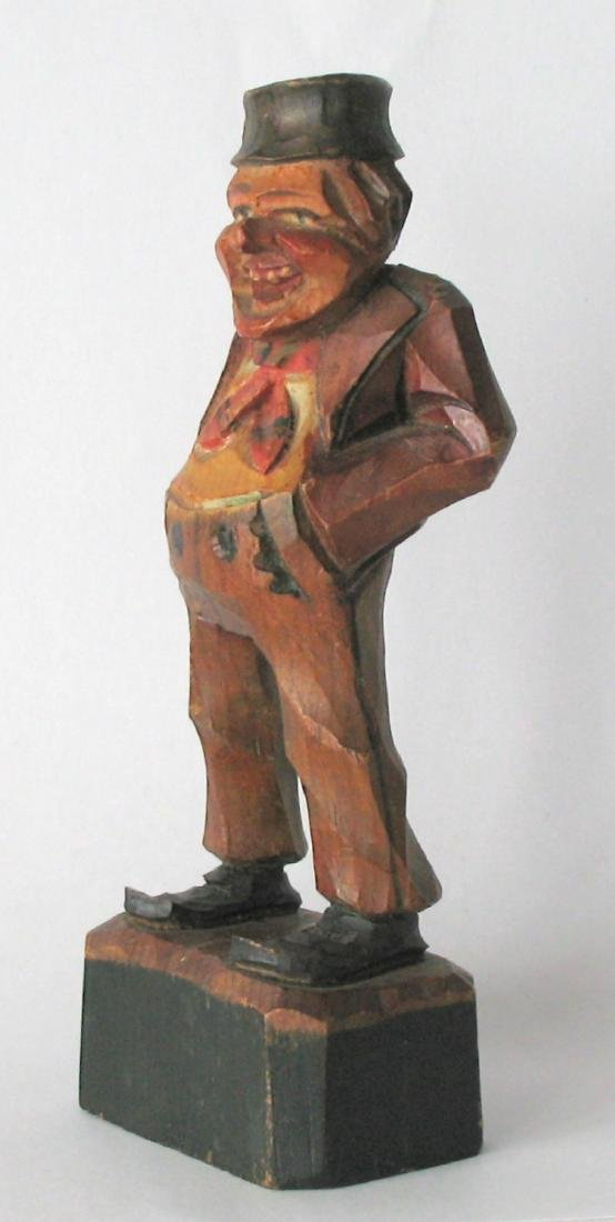 Whimsical Vintage Folk Art Carving of an Old Gentleman - 4