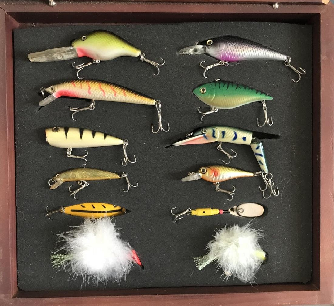Collection of 12 Fishing Lures in Display Case
