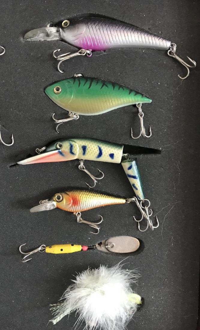 Collection of 12 Fishing Lures in Display Case - 2