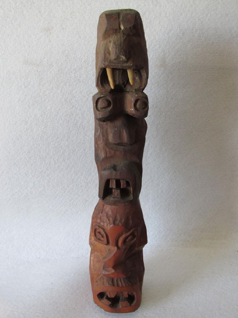 Vintage Hand carved Folk Art Totem Pole