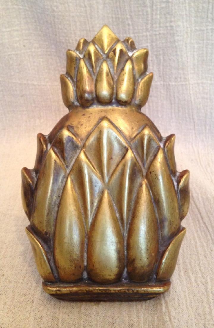 1930 Cast Brass Pineapple Door Knocker - 2