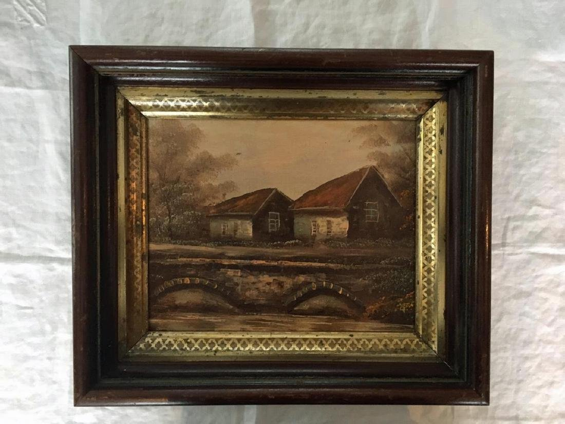 Pastoral Oil On Board in Walnut Shadow Box Frame