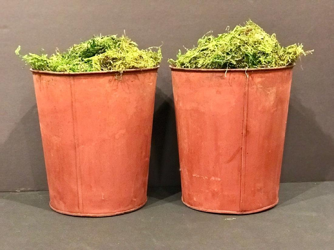 Pair Late 19th Maple Sap Cans in Original Paint.