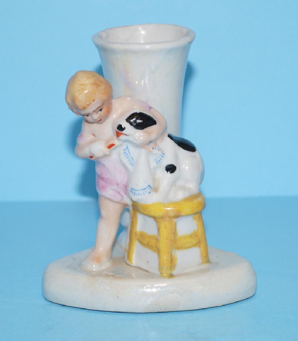 Girl Brushing Dog's Teeth Porcelain Toothbrush Holder