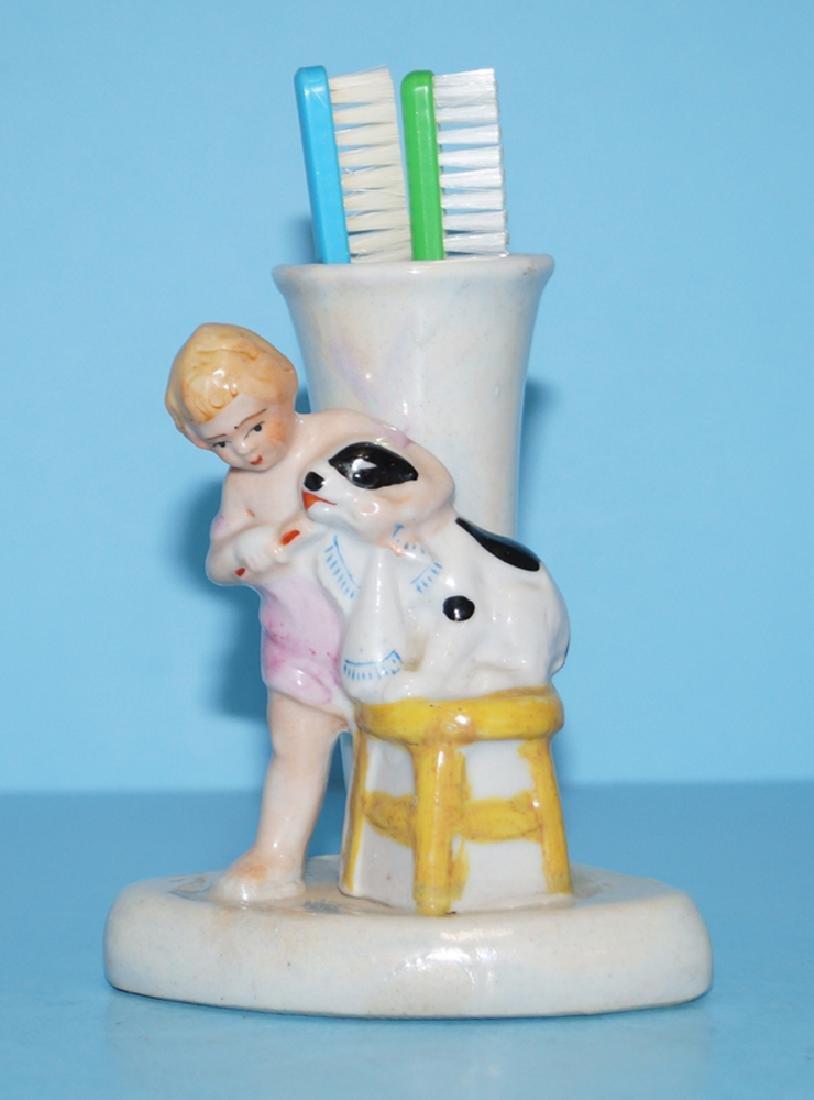 Girl Brushing Dog's Teeth Porcelain Toothbrush Holder - 6