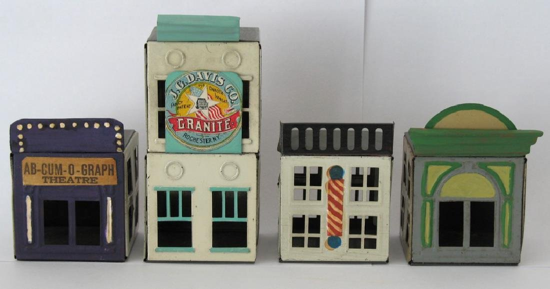 Group of Four Vintage Tin Buildings