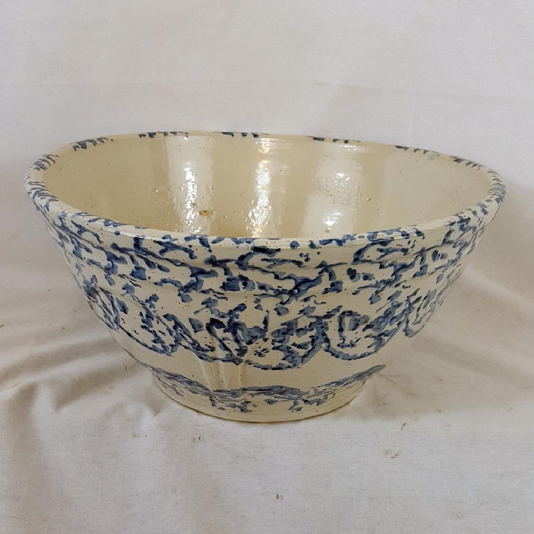 Mint Blue Spongeware Bowl Ca 1880-1900