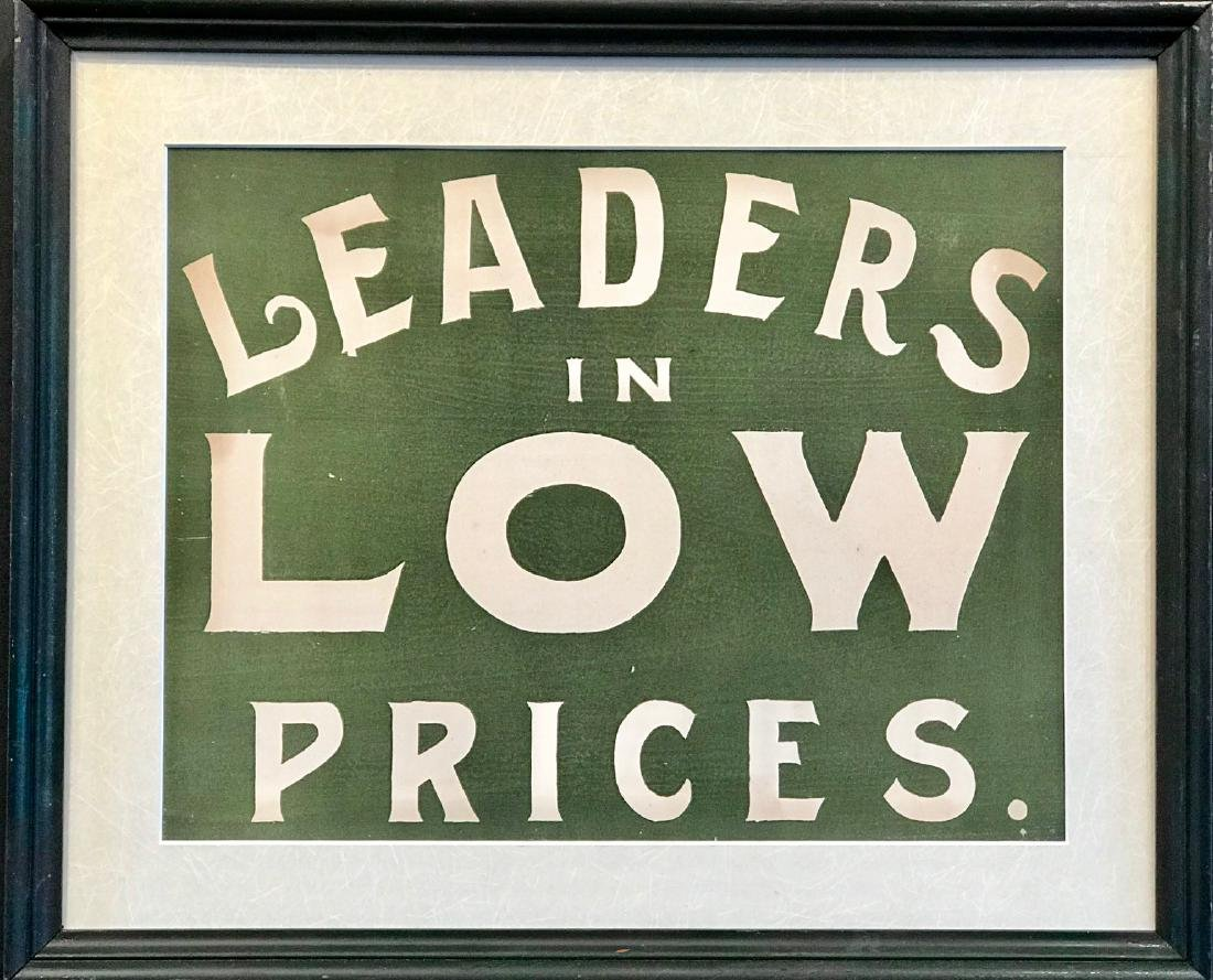 Leaders in Low Prices Sign on Paper, C. 1890