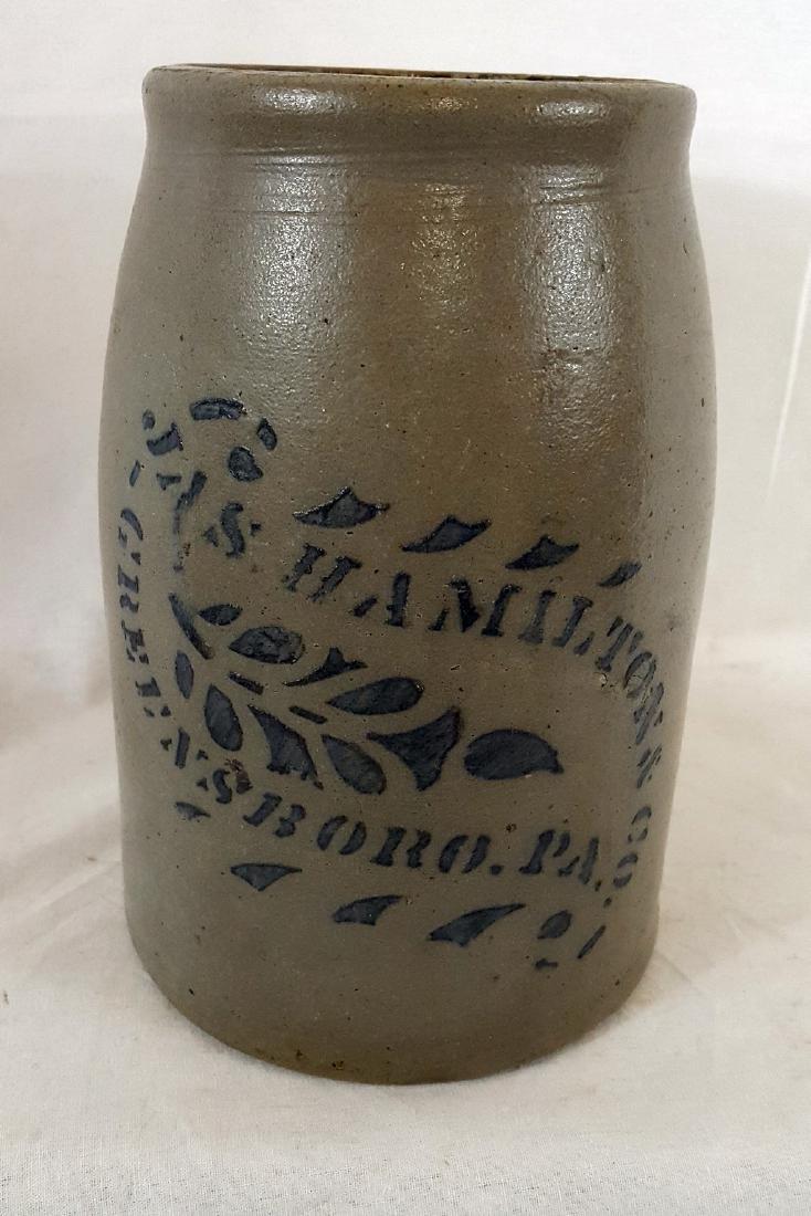 James Hamilton One Quart Stoneware Wax Sealer Ca 1880