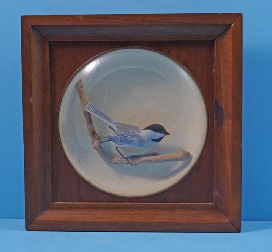 Decorative Chickadee Bird Carving in Diorama