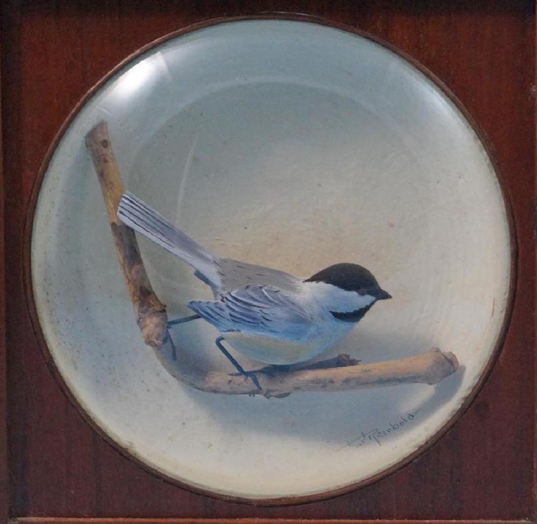 Decorative Chickadee Bird Carving in Diorama - 2