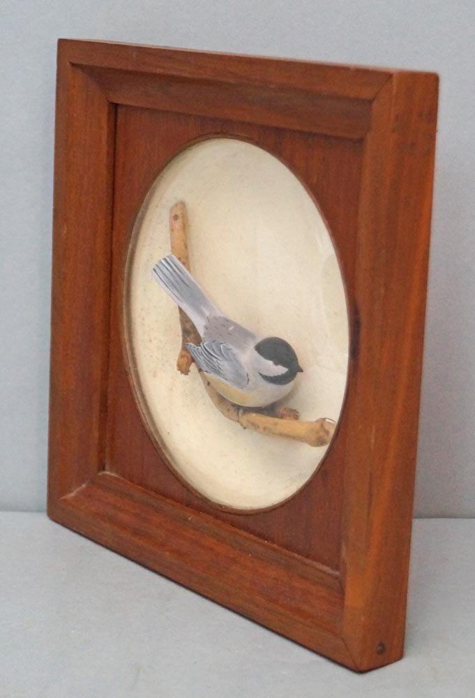 Decorative Chickadee Bird Carving in Diorama - 5