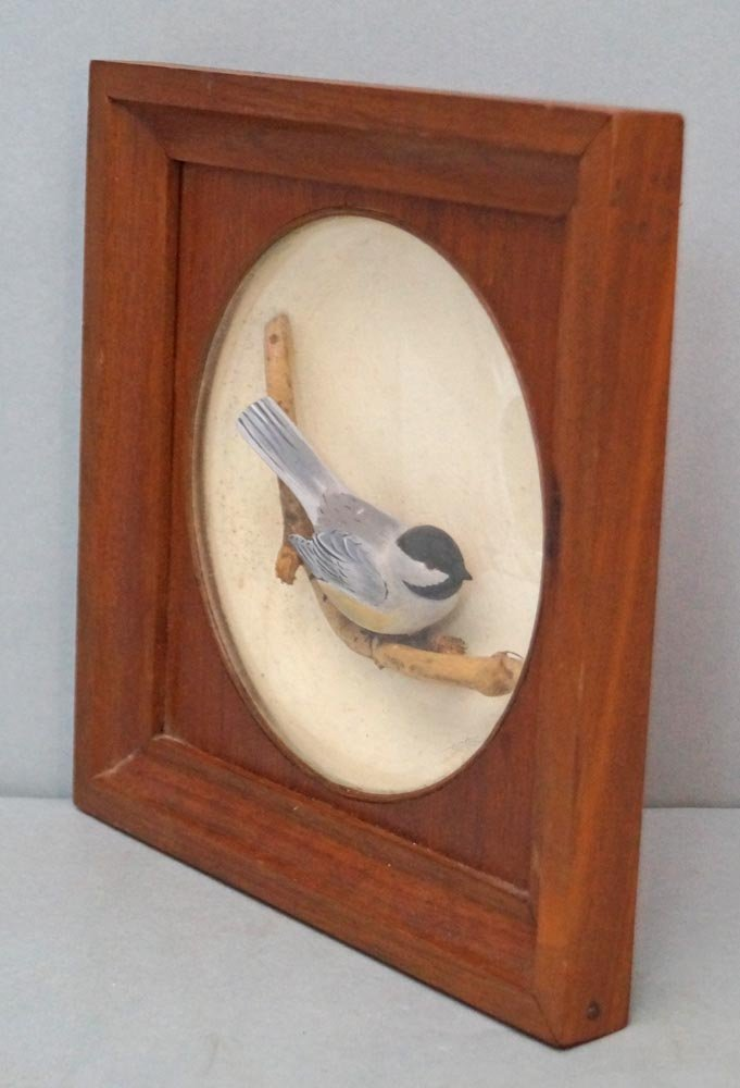 Decorative Chickadee Bird Carving in Diorama - 5