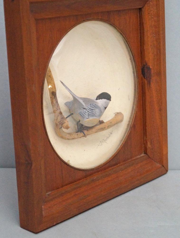 Decorative Chickadee Bird Carving in Diorama - 6