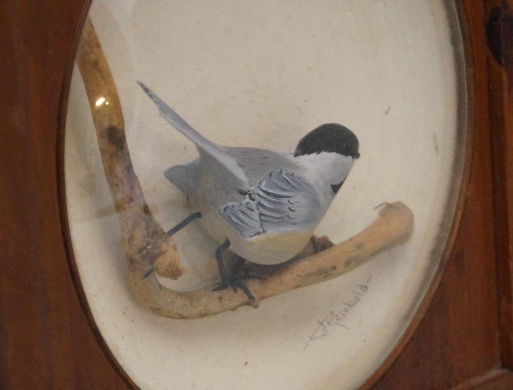Decorative Chickadee Bird Carving in Diorama - 7