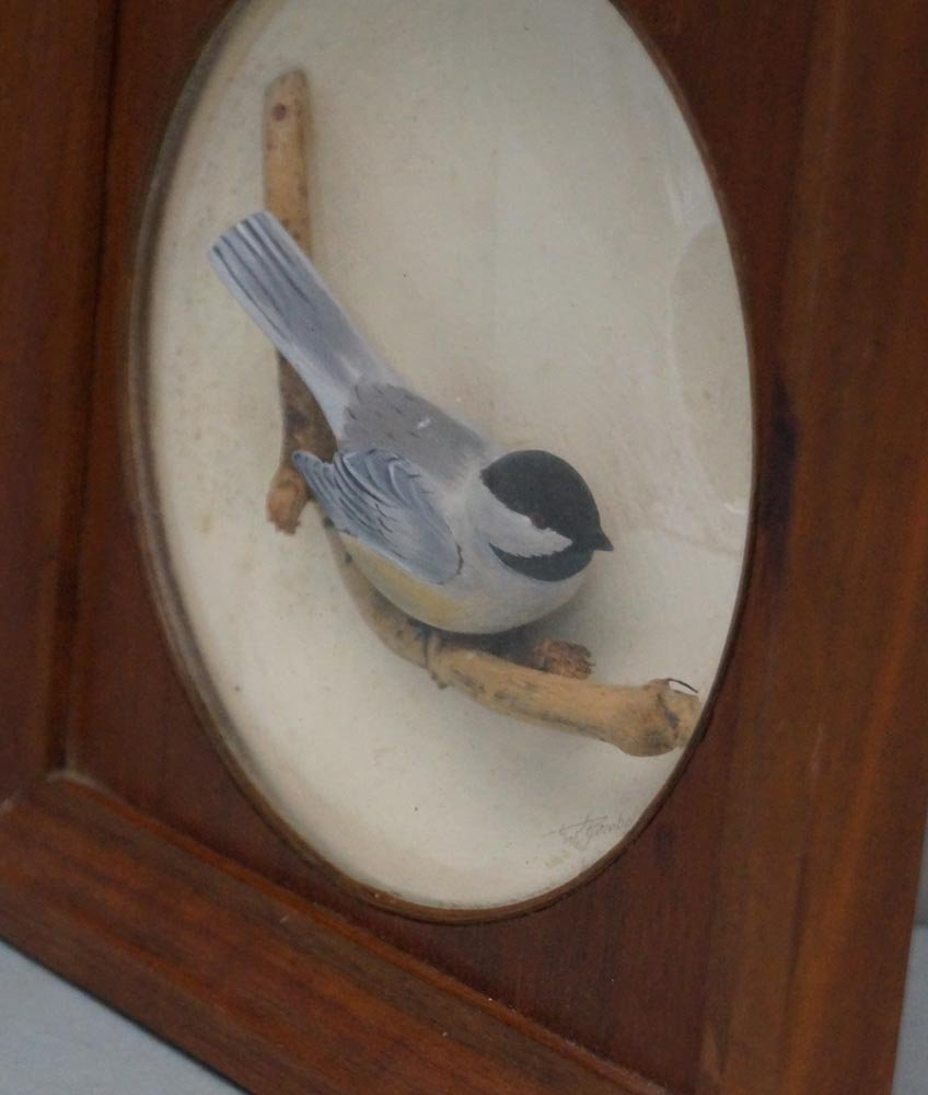 Decorative Chickadee Bird Carving in Diorama - 8