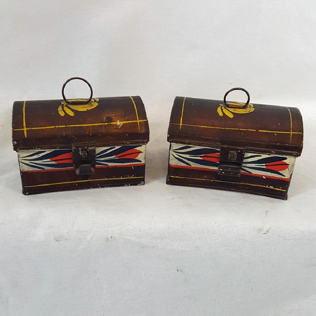 Scarce Pair of Toleware Miniature Document Boxes C 1840
