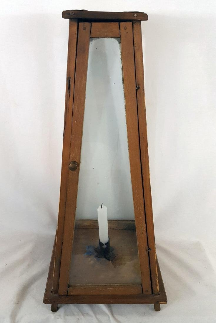 Rare Lighthouse Form Tall Candle Lantern Ca 1860-1890
