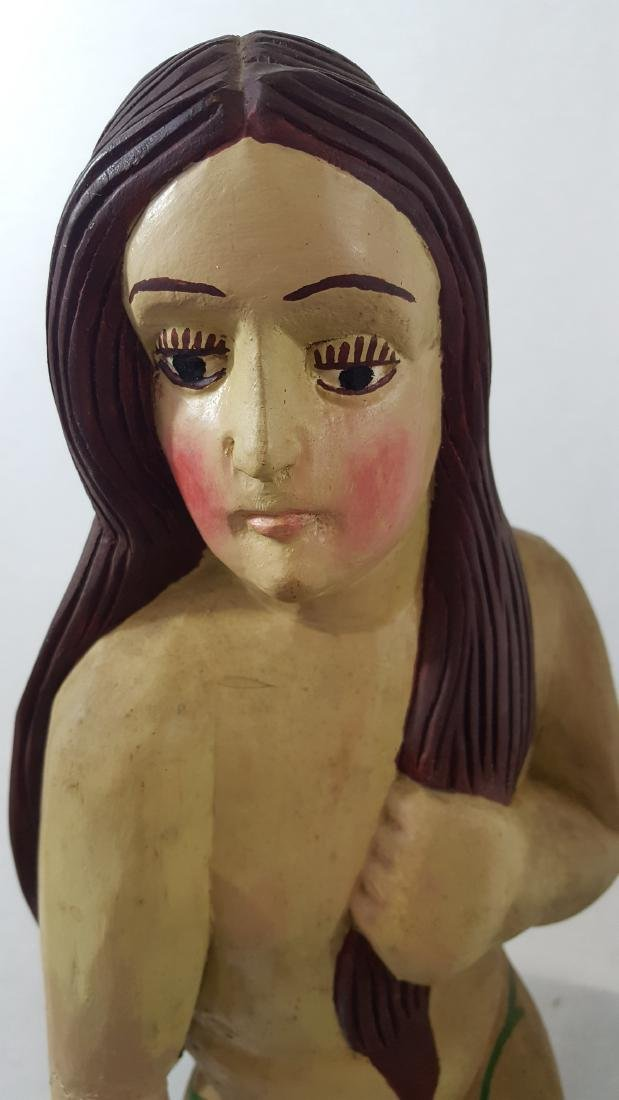 Adam and Eve Carved and Painted Folk Sculpture C 1950's - 10
