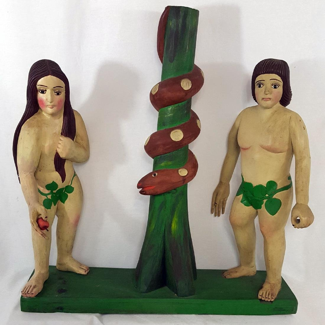 Adam and Eve Carved and Painted Folk Sculpture C 1950's