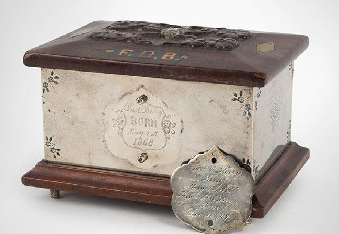 Unusual Great Carved Wood Bank Dated 1866