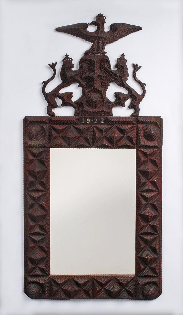 Published 1922 Tramp Art Mirror with Lions & Eagle